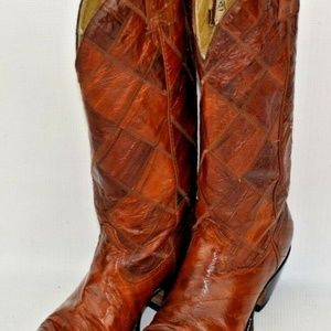 Montana Patchwork Quilt Leather Womens Boots 5.5M